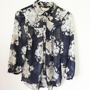 Philosophy blue floral button blouse sheer size s